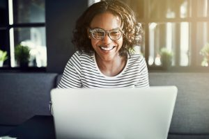 Woman starting an online business