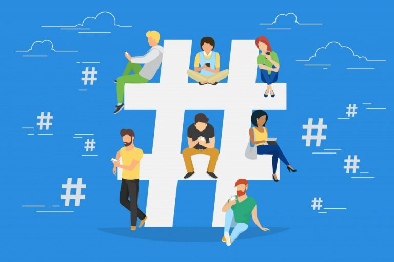 Hashtag concept illustration of young people using mobile tablet and smartphone for sending posts and sharing them in social media