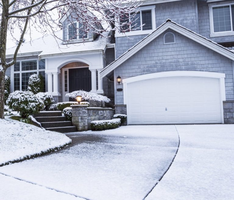 suburban home during the winter