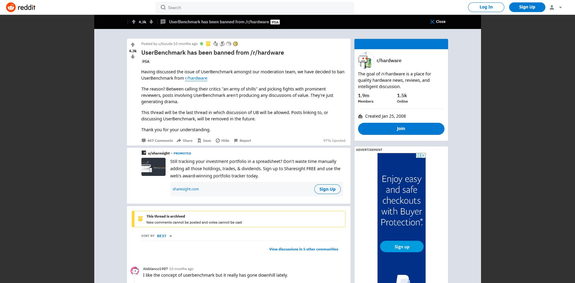 UserBenchmark subreddit ban
